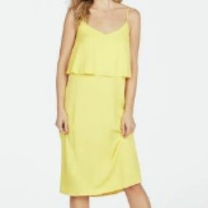 Ruffle Front Tank Dress. Yellow Color